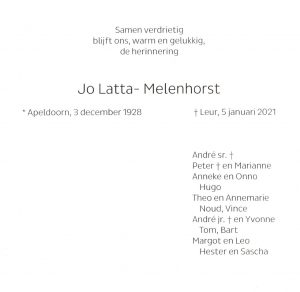 In Memoriam Jo Latta